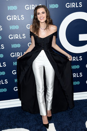 Allison Williams chose an off-the-shoulder, front-split dress by Gabriela Hearst for the New York premiere of the final season of 'Girls.'