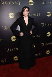 Lena Hall rocked a caped, floor-length tweed coat at the New York premiere of 'The Alienist.'