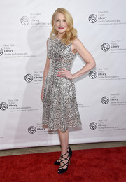 Patricia Clarkson sparkled in a silver and black sequin dress during the New York Public Library for the Performing Arts' 50th Anniversary Gala.