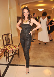 Janie stood out at the New York Macy's Event in a sparkling strapless jumpsuit.