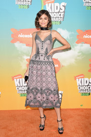 Zendaya Coleman was a stunner, as always, in an embellished purple-gray corset dress by Ulyana Sergeenko Couture at the Nickelodeon Kids' Choice Awards.