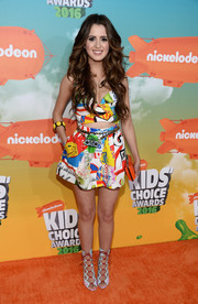 Laura Marano kept it fun and vibrant all the way down to her Alejandra G gladiator heels.