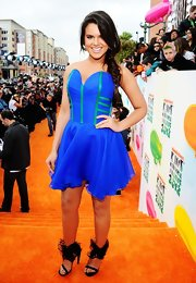 Isabella Castillo looked creative in this blue corset dress with green boning at the Kids' Choice Awards.