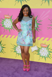 Tanya Chisholm opted for  this pastel blue frock for her fun and flirty look at the 2013 KCAs.