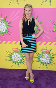 Caroline Sunshine chose a deep navy, loose blouse with a studded collar for her look at the Kids' Choice Awards 2013.