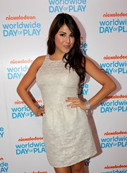 Daniella Monet donned a silver bangle at the Nickelodeon event.