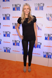 Aviva Drescher arrived at Nickelodeon's 'Big Time Movie' premiere wearing leather skinny pants.