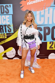 Chloe Kim coordinated her look with a pair of fashionable sneakers.