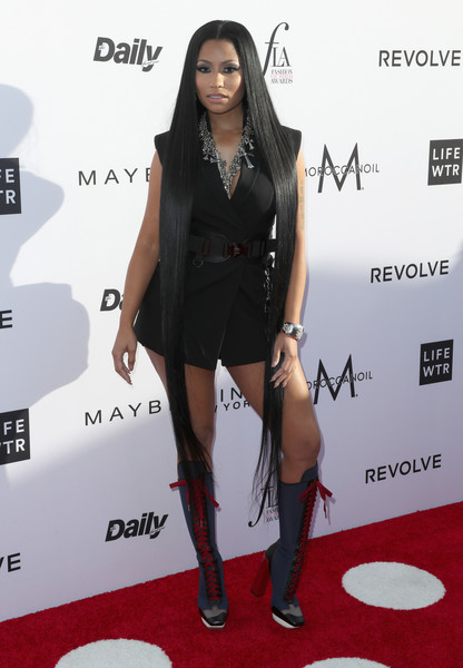 Nicki Minaj Lace Up Boots [red carpet,clothing,carpet,little black dress,dress,fashion,footwear,joint,leg,premiere,arrivals,nicki minaj,west hollywood,california,sunset tower hotel,daily front row,3rd annual fashion los angeles awards]