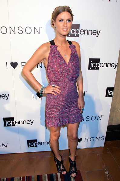 Nicky Hilton Print Dress [jcpenney celebrates the i ``heart ronson collection,the i ``heart ronson collection,clothing,dress,cocktail dress,fashion model,fashion,shoulder,hairstyle,footwear,fashion design,joint,nicky hilton,i ``heart ronson,hollywood roosevelt hotel,california,jcpenney,celebration]