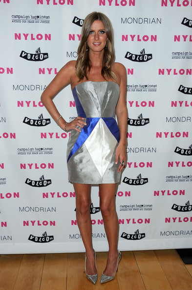 Nicky Hilton Strapless Dress [clothing,cocktail dress,dress,fashion model,shoulder,fashion,strapless dress,footwear,premiere,long hair,arrivals,nicky hilton,nylon,denim,issue,los angeles,california,launch party]