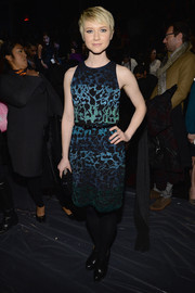 Valorie Curry chose a sleeveless, embroidered dress in varying shades of blue for the Nicole Miller fashion show.