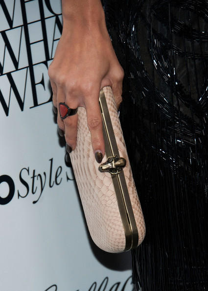 Nicole Richie Hard Case Clutch [material property,finger,hand,fashion accessory,women,nicole richiearrives,west hollywood,california,the london hotel,what wear and cadillac,who what wear and cadillac,event]