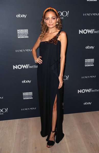 Nicole Richie One Shoulder Dress [clothing,dress,fashion model,shoulder,fashion,beauty,cocktail dress,little black dress,formal wear,footwear,working sundays series,nicole richie,nowwith,honey minx collection reveal,partnership,collection,spring place,beverly hills,california,yahoo lifestyle in partnership with working sundays series]