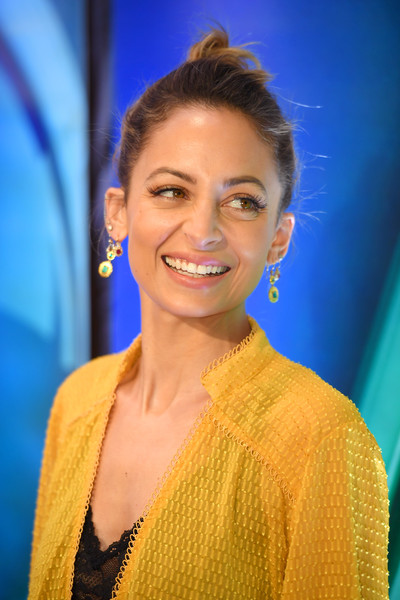 Nicole Richie Twisted Bun [nicole richie,nbcuniversal press junket,hair,face,beauty,yellow,eyebrow,smile,hairstyle,forehead,fashion,electric blue,four seasons hotel new york,new york city]