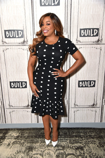 Niecy Nash Pumps [celebrities,niecy nash,build at build studio,clothing,dress,cocktail dress,hairstyle,fashion,footwear,little black dress,black-and-white,pattern,design,new york city]