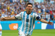 Lionel Messi of Argentina celebrates scoring his team's first goal during the 2014 FIFA World Cup Brazil Group F match between Nigeria and Argentina at Estadio Beira-Rio on June 25, 2014 in Porto Alegre, Brazil.