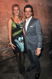 Holly Branson donned a print dress at the Clinton Foundation event.