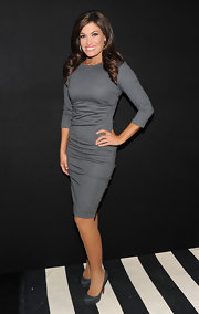 Kimberly Guilfoyle wore gray Christian Louboutin platform pumps with her dress for a classy finish.