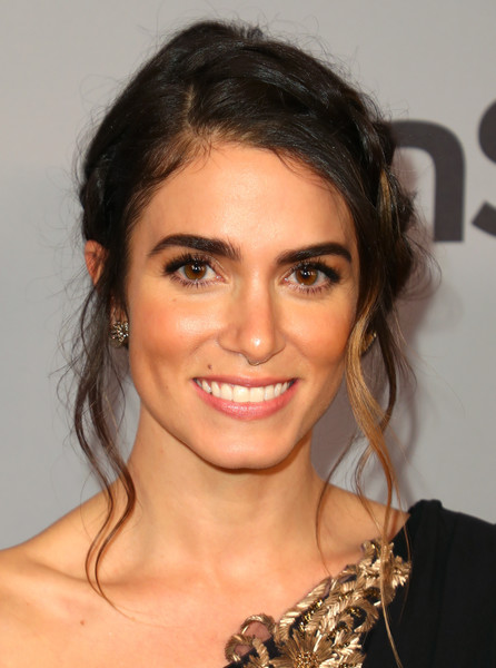 Nikki Reed Braided Updo [hair,eyebrow,hairstyle,face,chin,beauty,lip,forehead,brown hair,long hair,nikki reed,beverly hills,california,the beverly hilton hotel,instyle,red carpet,warner bros. 75th annual golden globe awards,warner bros. 75th annual golden globe awards post-party]