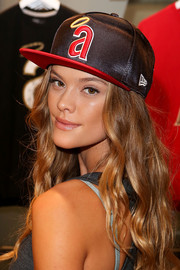 Nina Agdal got into a sporty mood with this Angels baseball cap for the New Era store opening.