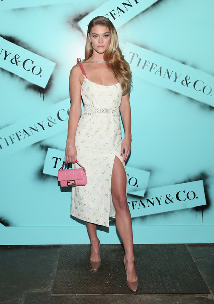 Nina Agdal Quilted Purse [clothing,shoulder,dress,cocktail dress,fashion,pink,beauty,joint,fashion model,hairstyle,nina agdal,new york city,tiffany co,love photography exhibition]