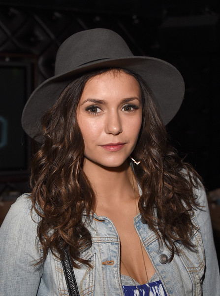 Nina Dobrev Fedora [hair,hat,clothing,eyebrow,lip,beauty,hairstyle,fedora,fashion accessory,long hair,nina dobrev,tommy bahama hosts private,taylor swift concert,hyde staples center,california,los angeles,tommy bahama,event,event,concert]