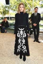 Olivia Palermo gave her plain top some graphic appeal with a printed maxi skirt.