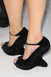 Don't Georgina's suede ankle-strap wedges look like a modern work of art? How fun!