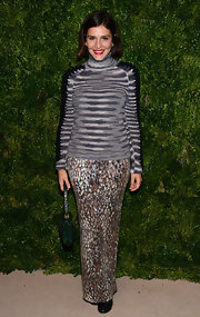 Margherita Missoni sported clashing prints with this long skirt and turtleneck combo at the CFDA/Vogue Fashion Fund Awards.