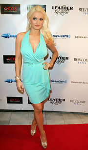 Holly Madison wore a vibrant aqua knit dress to the Leather & Laces event.