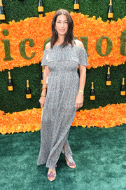 Rebecca Minkoff donned a summer-chic off-the-shoulder maxi dress for the Veuve Clicquot Polo Classic.