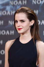 Emma's red lipstick provided a nice color contrast to her black dress.