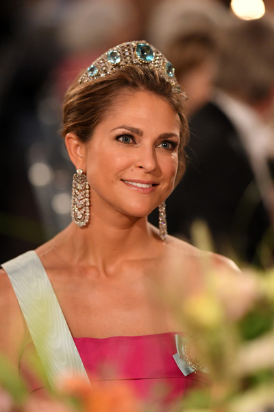 More Pics of Princess Madeleine Gemstone Tiara (2 of 7) - Hair Accessories Lookbook - StyleBistro [hair,headpiece,hair accessory,hairstyle,clothing,beauty,fashion accessory,tiara,eyebrow,jewellery,madeleine of sweden,nobel prize,stockholm,city hall,sweden,nobel prize banquet]