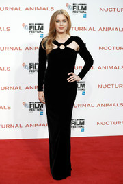 Amy Adams exuded edgy glamour in a black velvet cutout gown by Tom Ford at the BFI London Film Festival screening of 'Nocturnal Animals.'