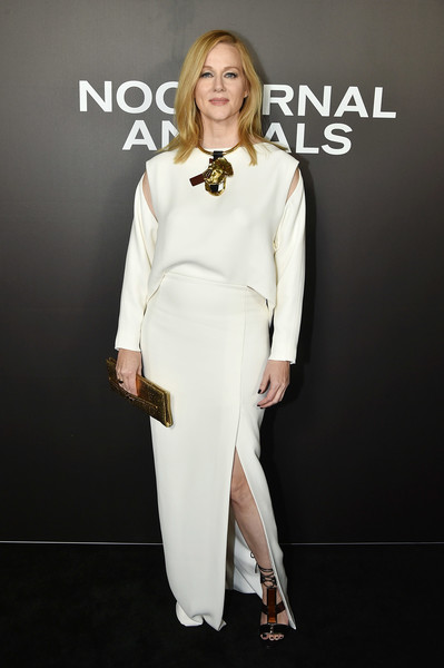 Laura Linney went modern in a white Tom Ford gown with shoulder cutouts and a slouchy bodice during the New York premiere of 'Nocturnal Animals.'