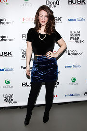 Briella Calafiore's blue velvet skirt was quirky and stylish at the Nolcha Fashion Week presentation.