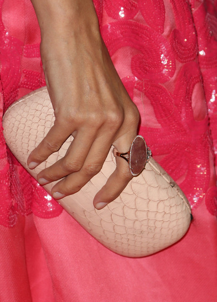 Noureen DeWulf Leather Clutch [pink,nail,leg,footwear,hand,peach,finger,toe,foot,nail care,party - arrivals,noureen dewulf,west hollywood,california,fig olive melrose place,entertainment weekly,pre-emmy party]