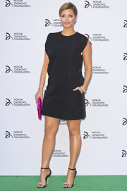 Holly Valance opted for a simple but classic blue shift dress for the Novak Djokovic Foundation Dinner.
