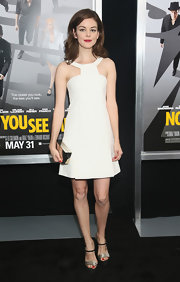Nora Zehetner chose this white mod-style A-line for her evening look at the 'Now You See Me' premiere.