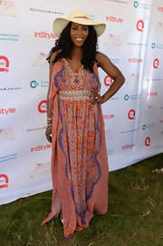 June Ambrose went all-out gypsy-chic with a boho-print maxi.