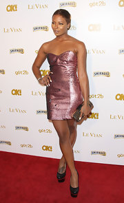 Eva Pigford showed off her enviable figure in a pink strapless dress at OK! Magazine's Pre-Grammy event in Hollywood.
