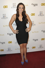 Krisily Kennedy added color to her LBD with blue peep-toe pumps.