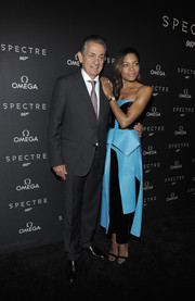 Naomie Harris went the ultra-modern route in an origami-detailed strapless two-tone leather dress by Roksanda at the New York screening of 'Spectre.'