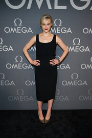 Taylor Schilling was on trend in an Osman LBD with a cropped overlay during the Omega Speedmaster Dark Side of the Moon event.