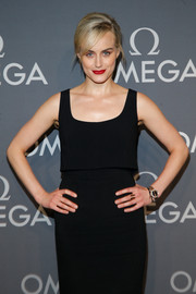 Taylor Schilling rocked a diamond-embellished watch at the Omega Speedmaster event.
