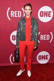 Ruby Rose injected some sparkle with a beaded zip-up jacket, also by Costume National.