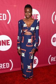 Danai Gurira donned a Staud printed cutout gown that showcased both cleavage and abs for the ONE Campaign and (RED) concert to mark World AIDS Day.