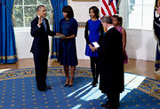 Malia was dressed perfectly for the inauguration ceremony in this fit-and-flare blue dress.