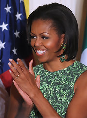 Michelle Obama sported a chic slicked-back bob at the White House St. Patrick's Day reception.